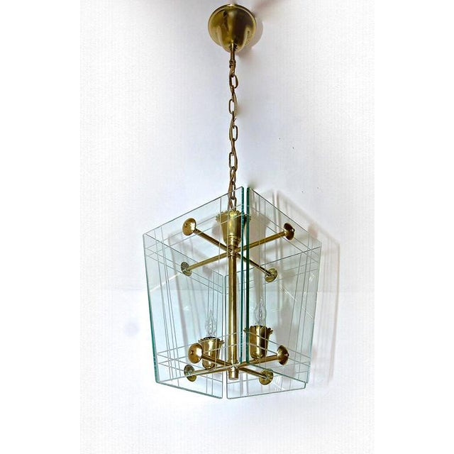 1950s Italian Fontana Arte Style Hall Entry Glass Pendant For Sale - Image 10 of 13
