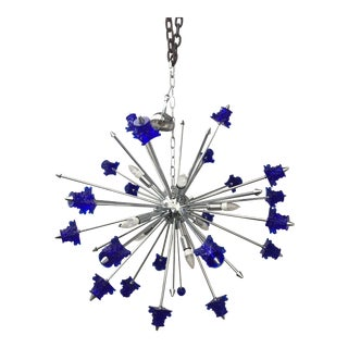 Blue Crystal Glass and Chrome Sputnik Chandelier For Sale
