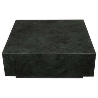 Floating Square Coffee Table in Green and Black Slatelike Material For Sale