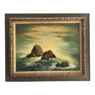1960s Vintage Crashing Waves Framed Painting For Sale