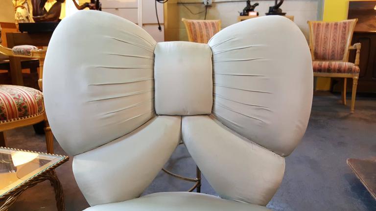 Bow Backrest Upholstered Slipper Or Vanity Chair   Image 3 Of 8