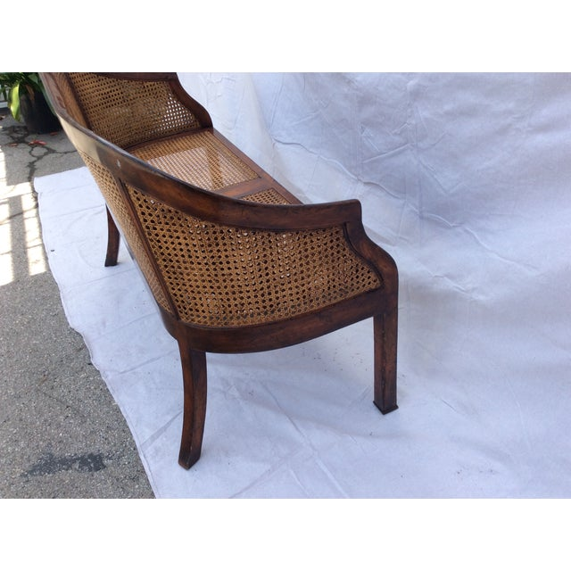 Traditional Mahogany and Cane Settee For Sale - Image 4 of 7