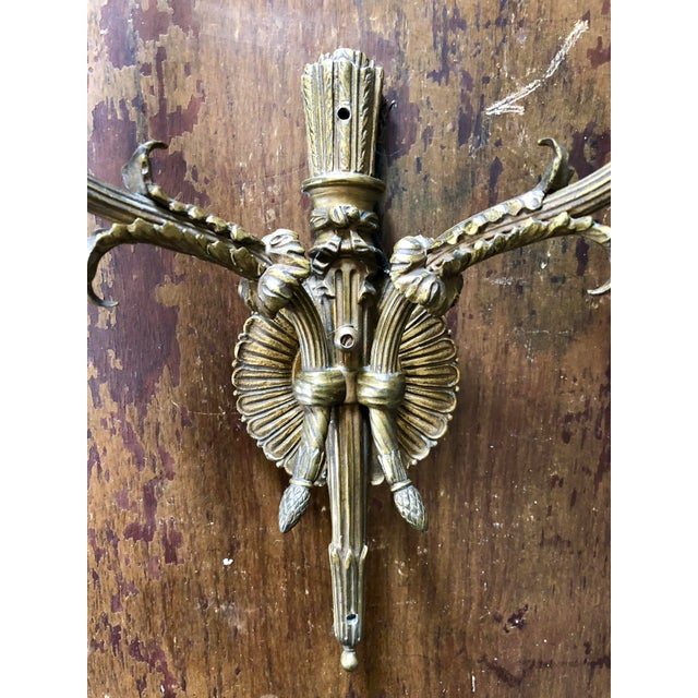 English Traditional Neoclassical Brass Two Light Wall Sconces- a Pair For Sale - Image 3 of 6
