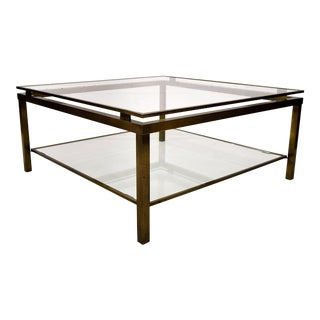 Maison Jansen Two Tier Brass Coffee Table For Sale