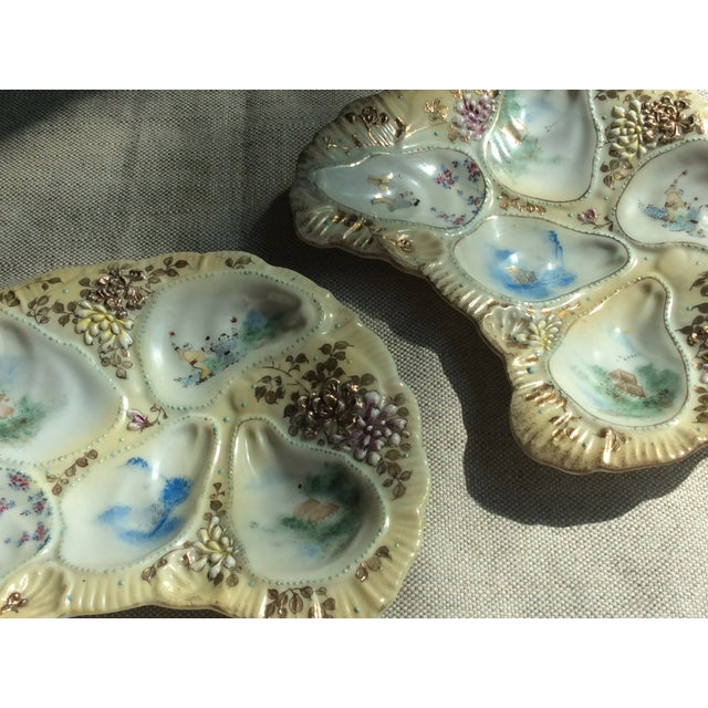 Late 19th Century Antique French Porcelain Oyster Plates - a Pair For Sale - Image 5 of 12