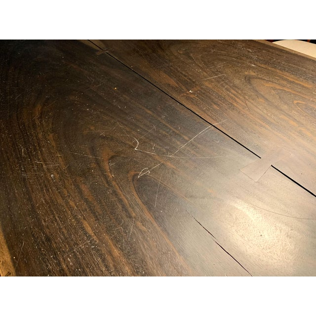 Industrial Viento Ray Dark Steel and Reclaimed Wood Dining Table For Sale - Image 9 of 13