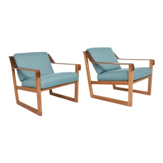 Pair of Danish Modern Arm Chairs in Oak and Rosewood Arms