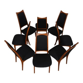 Moreddi Danish Teak Tall Back Dining Chairs w/ Black Upholstery - Set of 8 For Sale