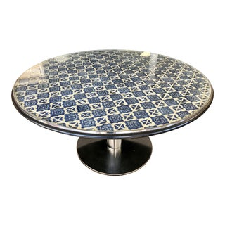 Blue and White Mosaic Tile Top Dining Table on Chrome Base For Sale