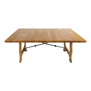 Country French Style Wood Dining Table W/ Wrought Iron Stretcher For Sale