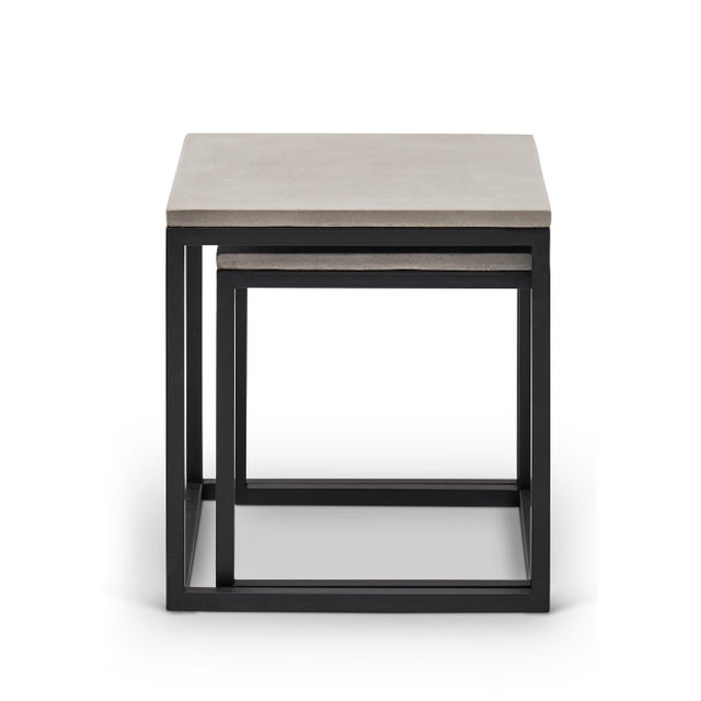 Stax Nesting End Table (Set of 2), Dark Grey, Black For Sale - Image 4 of 4