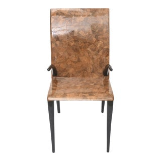 Rare R & Y Augousti Coconut, Tobacco and Ebony Armchair or Deskchair For Sale