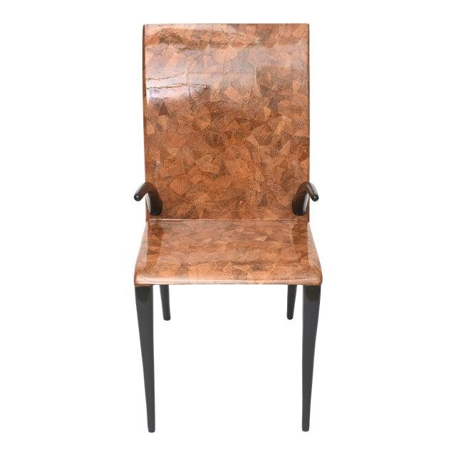 Rare R & Y Augousti Coconut, Tobacco and Ebony Armchair or Deskchair For Sale