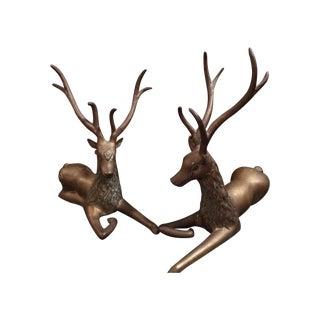 Midcentury Bronze Deer - A Pair