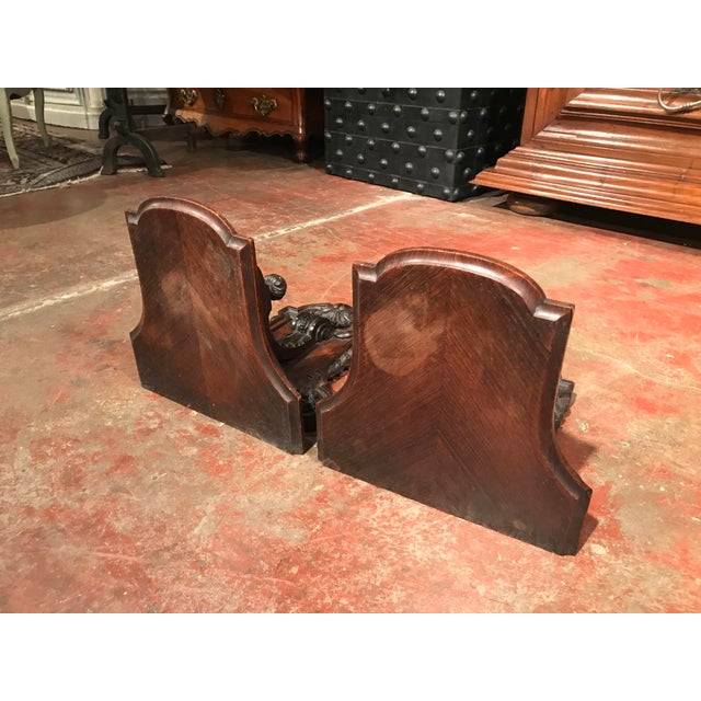 19th Century French Carved Walnut and Veneer Corbels Wall Brackets - a Pair For Sale - Image 9 of 10
