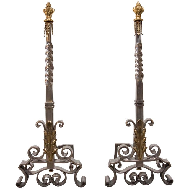 Andirons Attributed to Gilbert Poillerat - a Pair For Sale