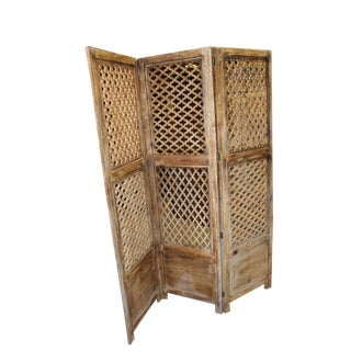 1920s Asian Antique Wooden Screen Room Divider For Sale