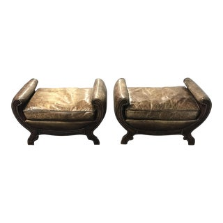 Victorian Leather Upholstered Benches - A Pair