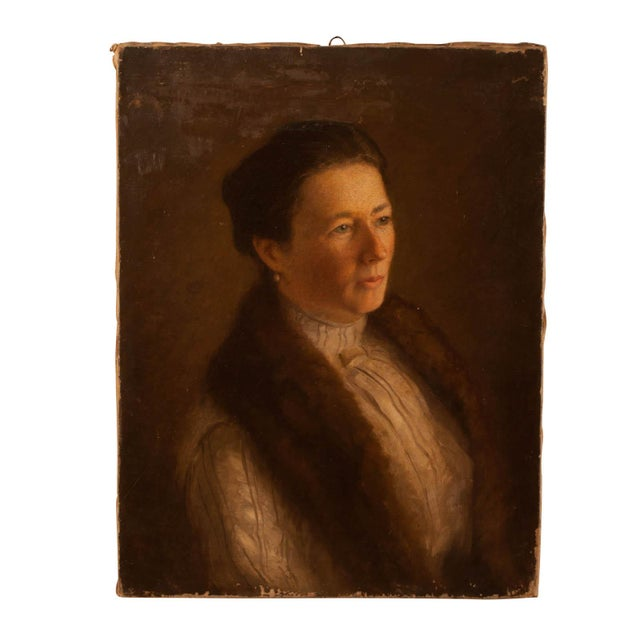 1900 Portrait of a Woman Painting For Sale - Image 4 of 4