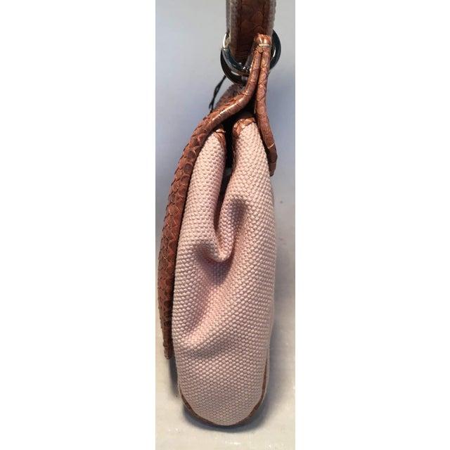 2010s Chanel Beige Canvas and Tan Copper Snakeskin Flap Shoulder Bag For Sale - Image 5 of 8