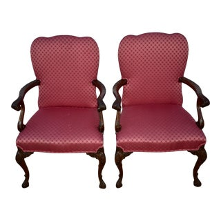 Vintage Quality Pair of Regency Style Carved Mahogany Accent Chairs For Sale