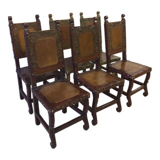 Spanish Heritage Western Leather Hand Tooled Chairs - Set of 6 For Sale