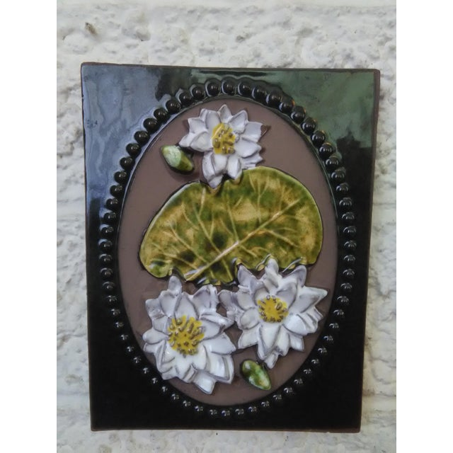 What we have here is an absolutely lovely Mid-Century Swedish ceramic floral wall plaque by Jie Gantofta Sweden. Created...