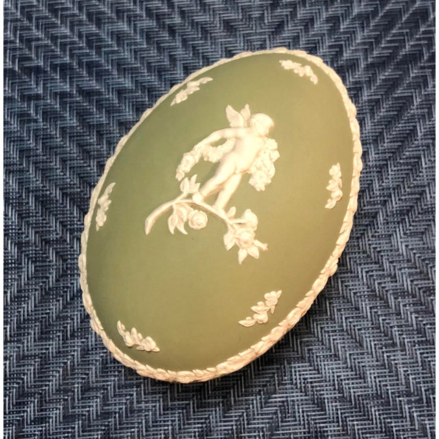 Green Vintage Wedgwood Sage Green Jasperware Catchall Set- 5 Pieces For Sale - Image 8 of 12