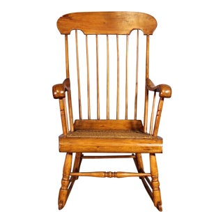 Spindle Back Caned Seat Rocking Chair For Sale
