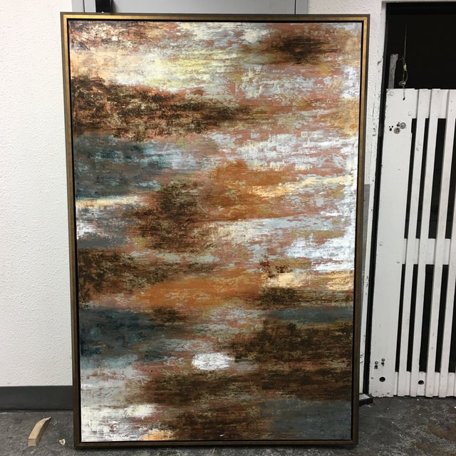 """Horchow Original Oil Painting Titled """"Luminescence"""" in Custom Frame - Image 2 of 11"""