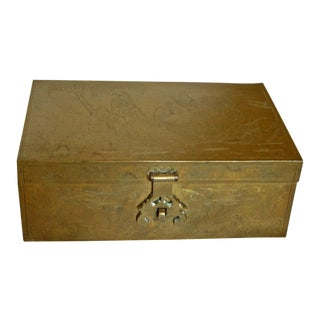 Chinese Engraved Brass Cigar Box For Sale