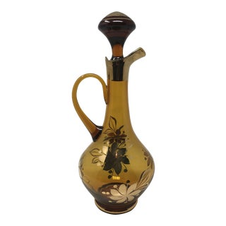 Vintage Amber Gilded Decanter For Sale