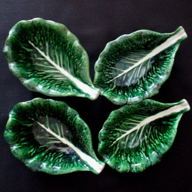 Vintage Cabbage Leaf Bowls From Portugal - Set of 4 For Sale In Dallas - Image 6 of 6