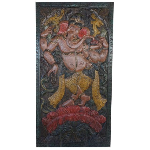 Vintage Carved Ganesha Wall Sculpture For Sale - Image 4 of 4