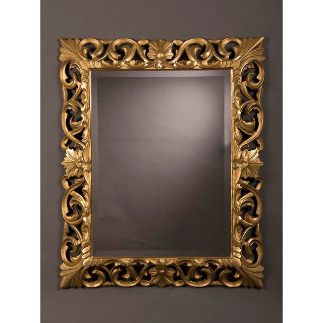Baroque 19th Century French Baroque Style Gold Leaf Framed Beveled Mirror For Sale - Image 3 of 8