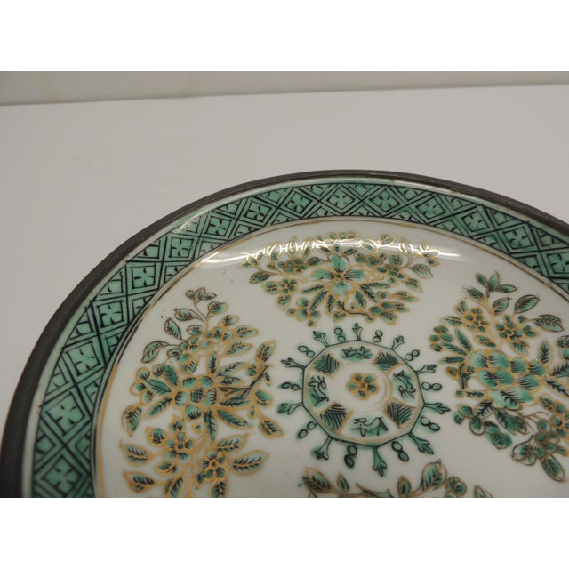 Vintage Japanese Green Decorative Ceramic Plate - Image 4 of 5