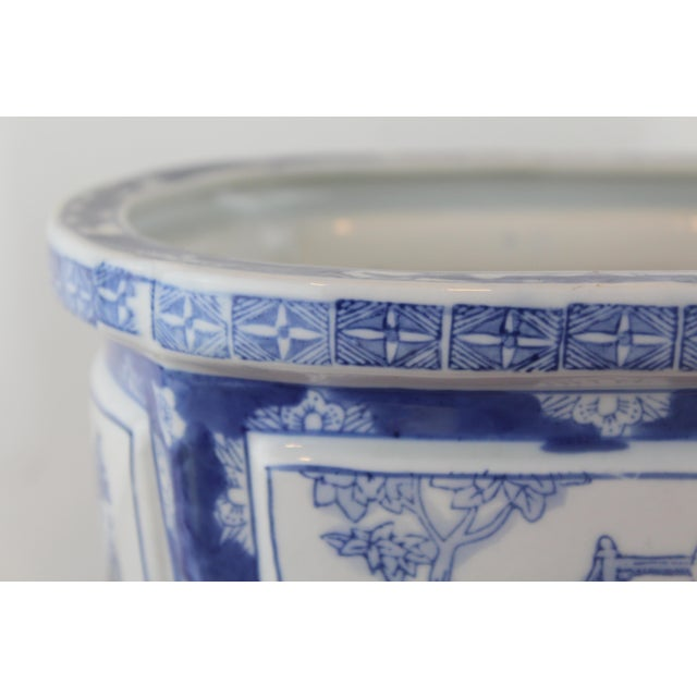 Blue and white antique porcelain Chinese garden scene pattern planter.