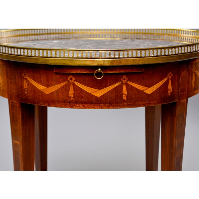 French French Oak Marble Top Gueridon With Marquetry and Brass Gallery For Sale - Image 3 of 13