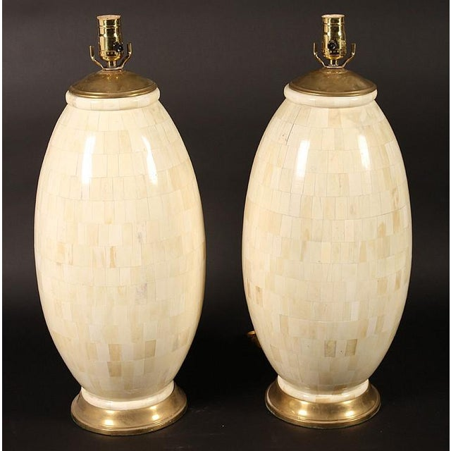 1970s Vintage Tessellated Bone Table Lamps - A Pair For Sale - Image 4 of 4