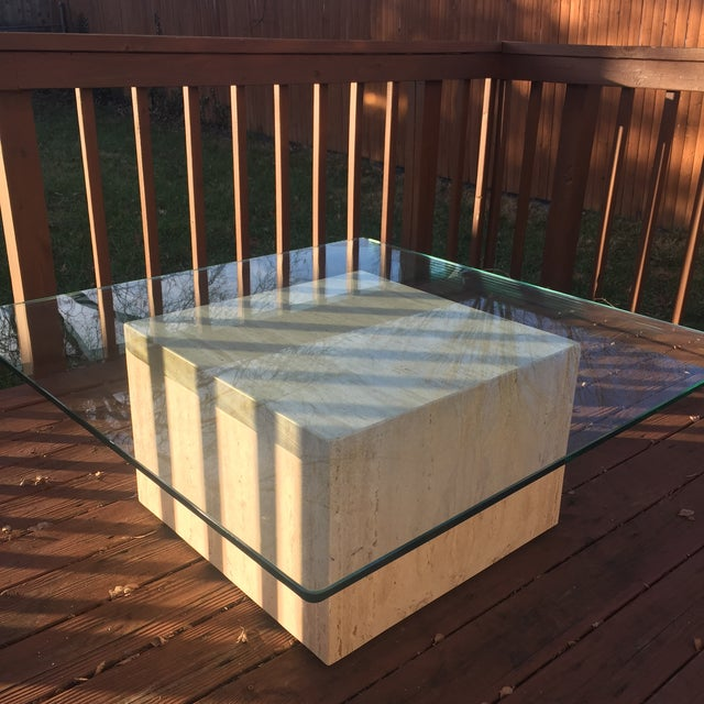 Modern Cube Travertine & Glass Coffee Table - Image 3 of 11