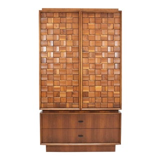 1977 Walnut Woven Sculpted Front Armoire For Sale