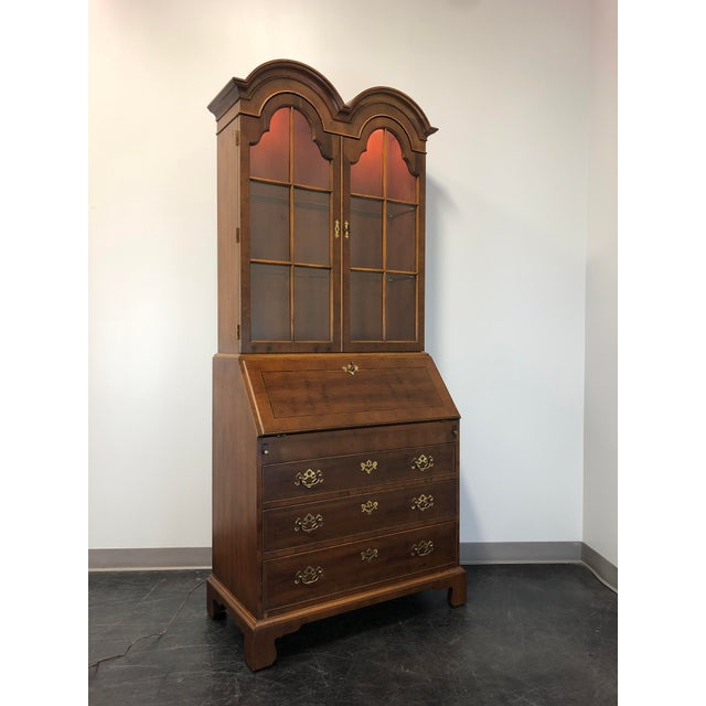 Henredon Chippendale Double Bonnet Top Yew Wood Secretary For Sale - Image 13 of 13