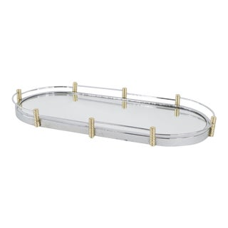 Vintage 1960s Mid-Century Modern Oval Silver Gold Bar Vanity Dresser Mirror Tray For Sale