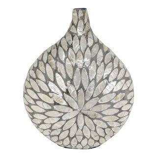 Boho Chic Capiz Lacquered Gray Decorative Vase For Sale