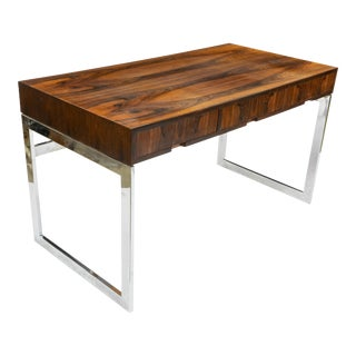 Milo Baughman Style Rosewood and Chrome Desk For Sale