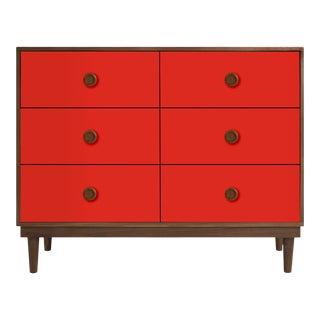 Lukka Modern Kids 6-Drawer Dresser in Walnut With Red Finish For Sale
