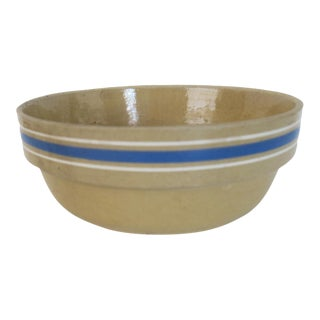 Antique Cream and Blue Striped Stoneware Low Bowl Pot For Sale
