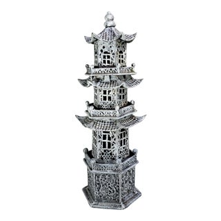 Vintage Mid Century Cast Iron Asian Pagoda Candle Holder For Sale
