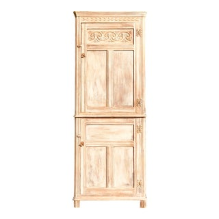 Early 20th Century Bleached English Oak Corner Cabinet For Sale