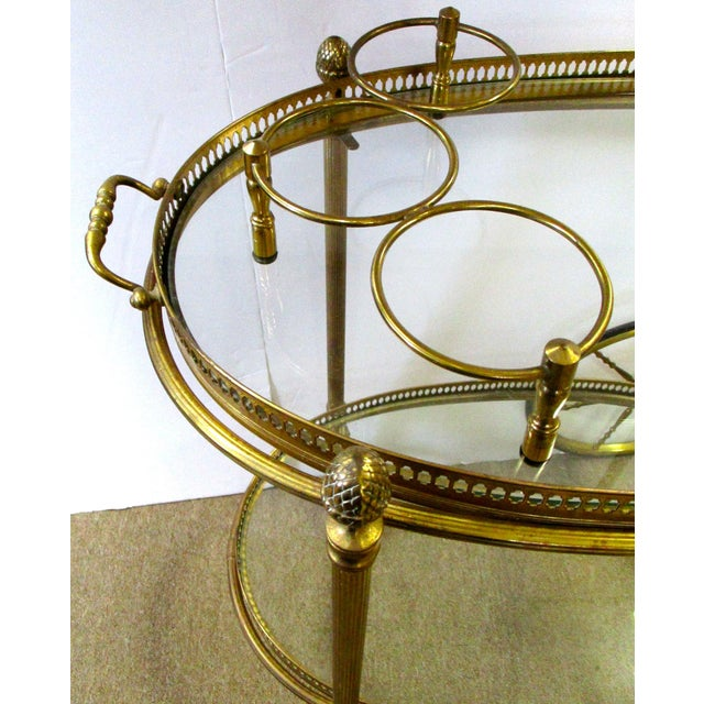 Brass and Glass Rolling Bar Tea Cart - Image 3 of 4